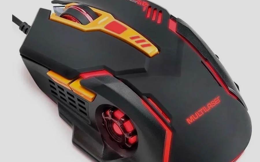Mouse para jogo Multilaser MO270 preto e laranja